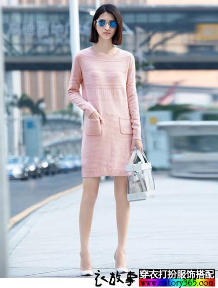 羊毛混纺直筒针织连衣裙