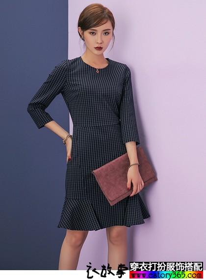 九分袖格子铅笔裙