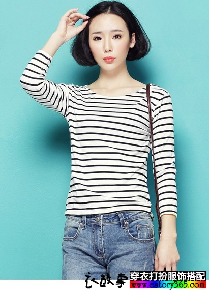 黑白条纹前短后长T恤