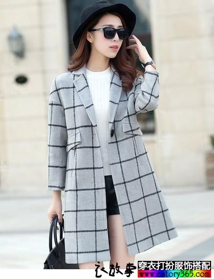 灰色空间羊毛外套
