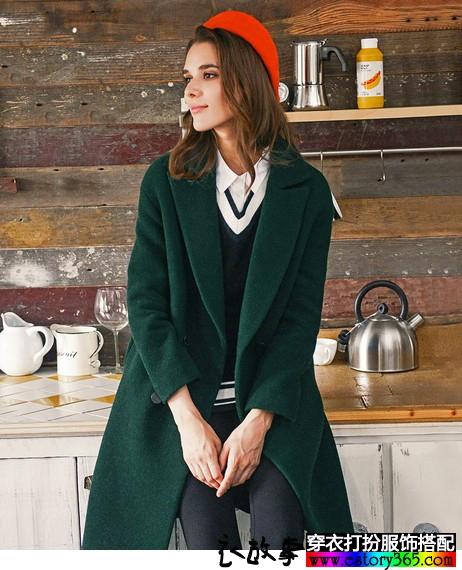 复古墨绿中长款毛呢外套