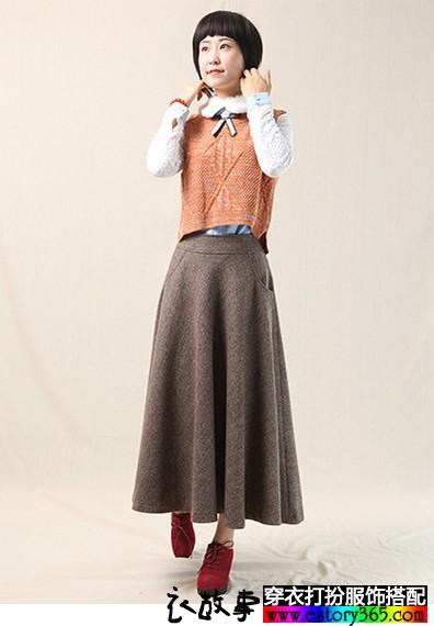 加厚文艺羊毛呢A字裙