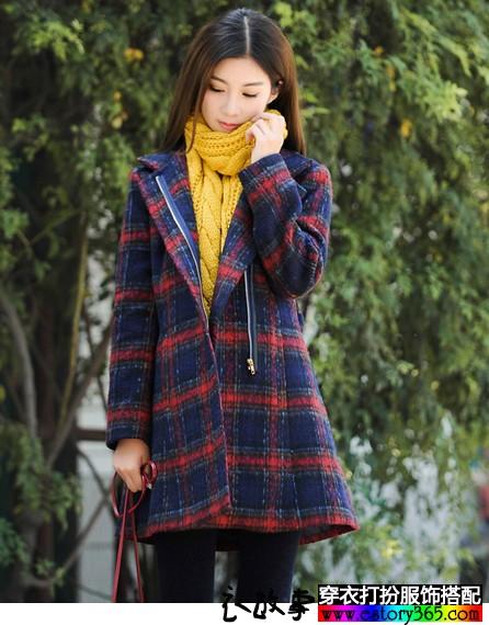 学院风格子毛呢外套