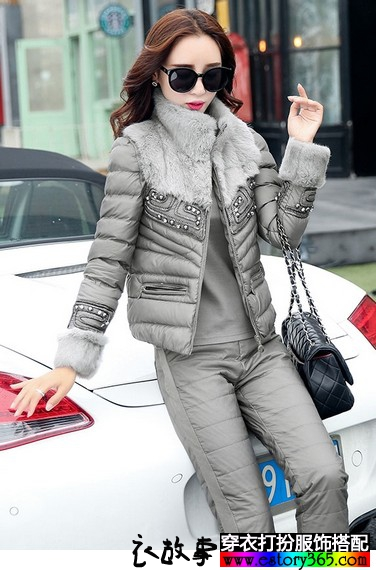 毛领棉服三件套