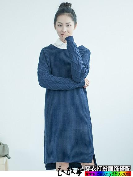 日系长款圆领加厚针织衫