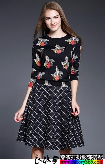 经典复古格子半身裙