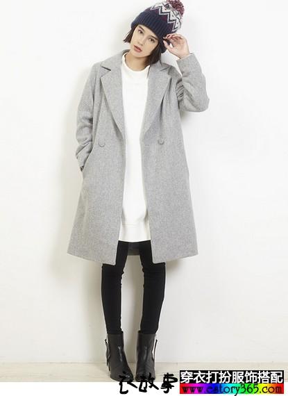 纯色西装领呢外套