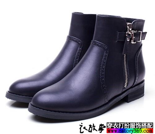 欧美风拉链平底短靴