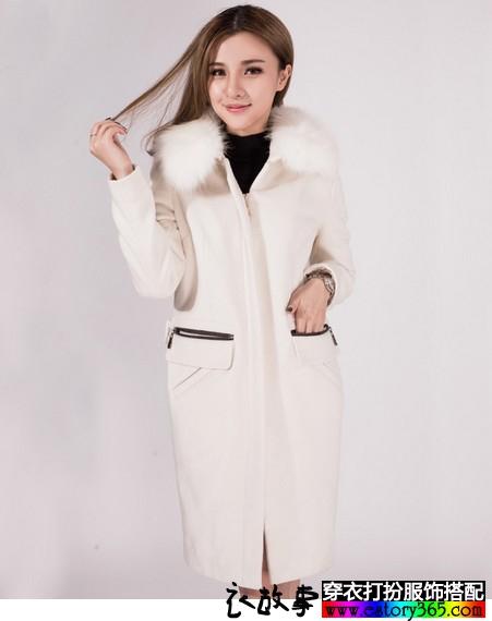 羊毛呢大毛领外套