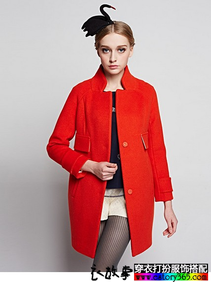 茧型中长款毛呢大衣