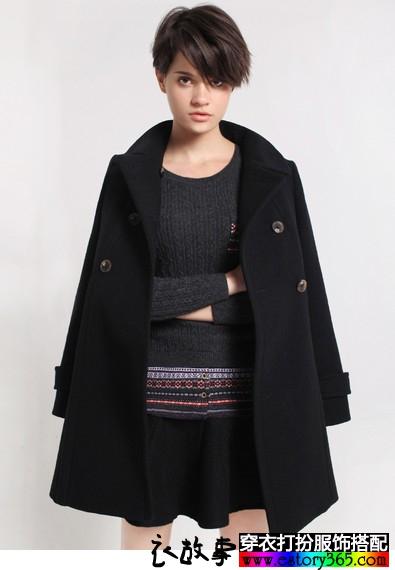 牛角双排扣羊毛呢外套
