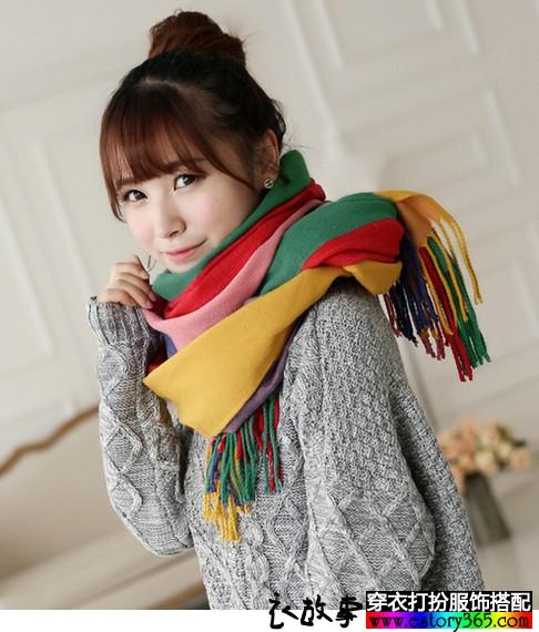 条纹彩色披肩围巾