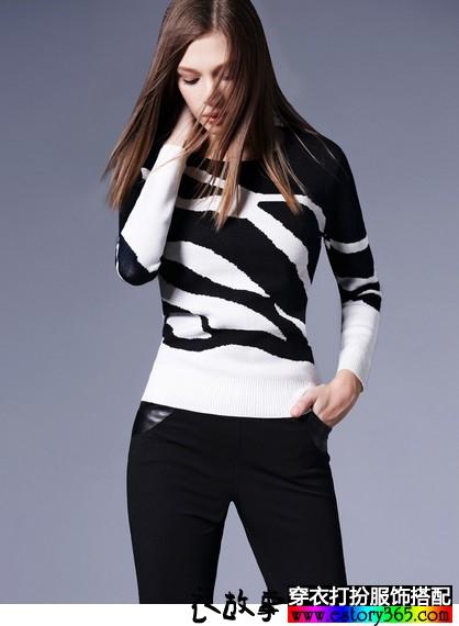 黑白撞色修身毛衣