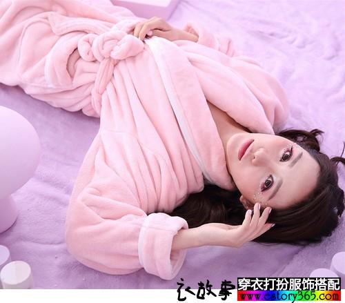 法兰绒加厚情侣睡袍