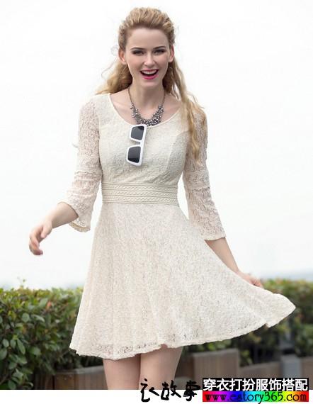 七分袖蕾丝连衣裙