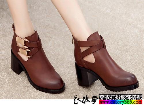 拉链粗跟踝靴
