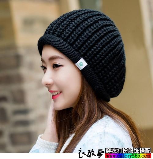 黑色无檐圆顶宽松针织帽