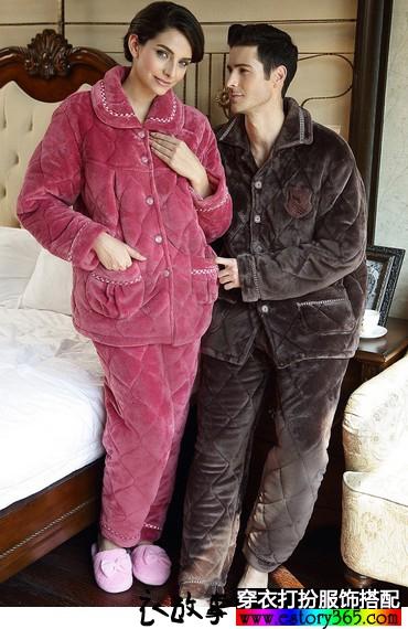 夹棉珊瑚绒情侣睡衣