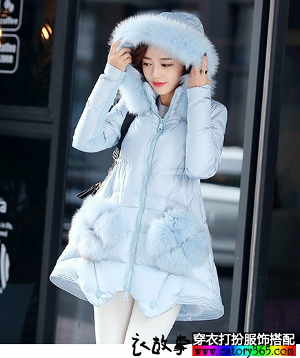 毛绒口袋韩版羽绒服