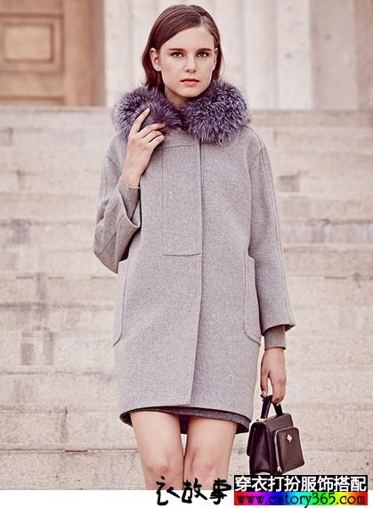 狐狸毛领羊毛大衣