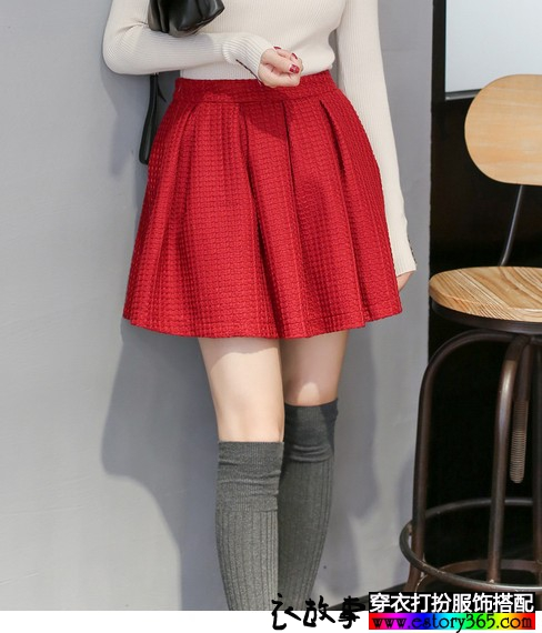 复古红色百褶高腰A字短裙