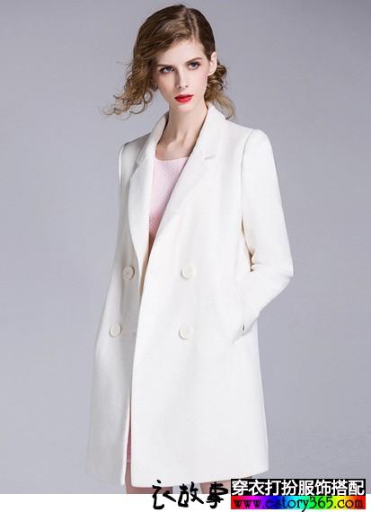 纯白羊毛呢修身外套