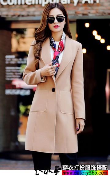 中长款V领呢子大衣