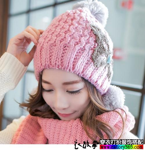蝴蝶结圆顶毛球针织帽