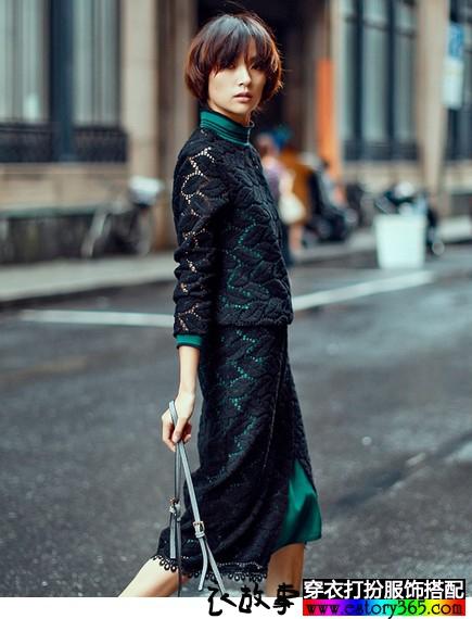 优雅蕾丝吊带上衣+半身裙