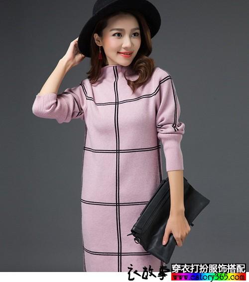 半高领格纹针织连衣裙