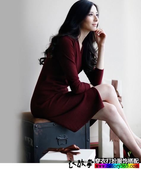 纯色针织毛衣裙
