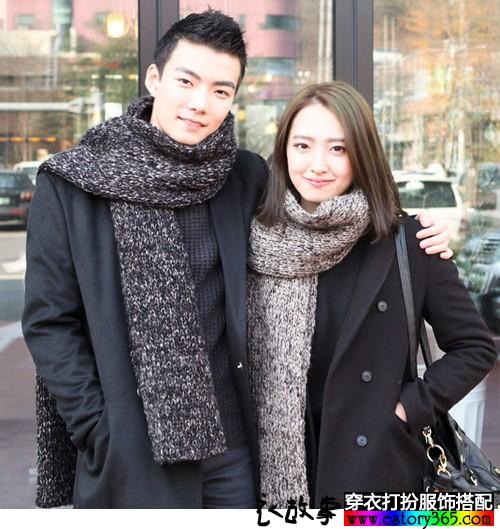 针织羊毛情侣围巾