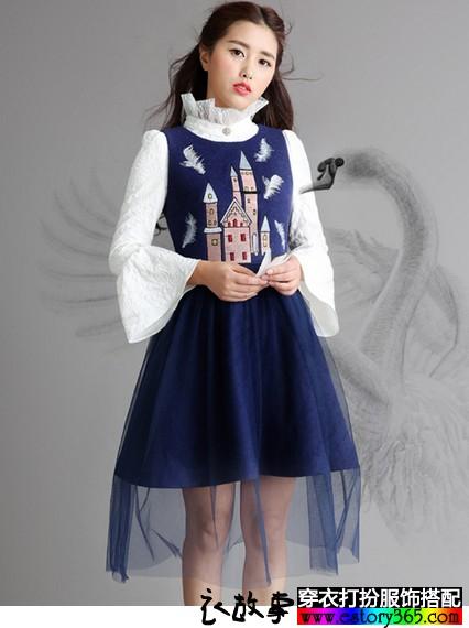 绣花网纱背心裙