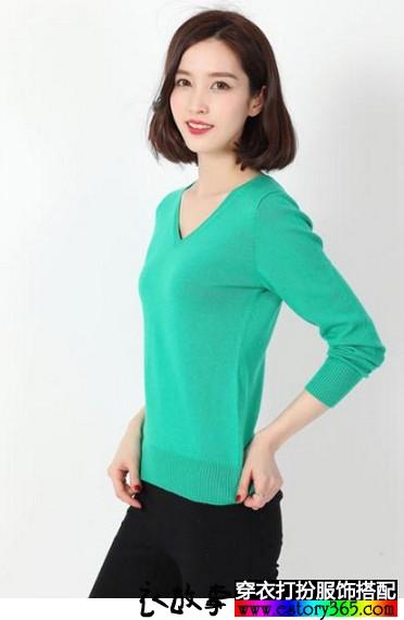 V领纯色羊毛衫