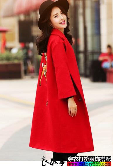 大红色小鹿毛呢外套