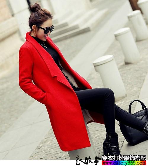 韩版加厚羊毛呢外套