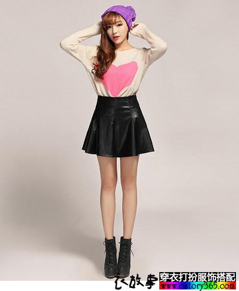 高腰纯色皮裙