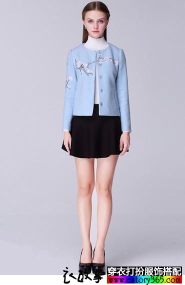 刺绣桃花短款外套