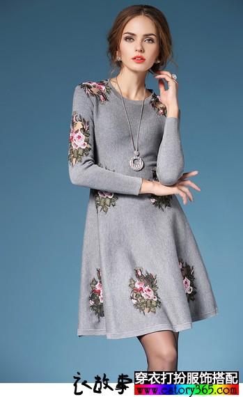 刺绣收腰连衣裙