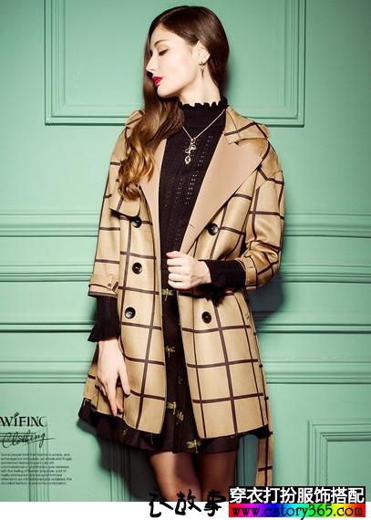 格纹麂皮绒外套
