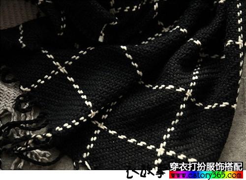 格子毛线围巾