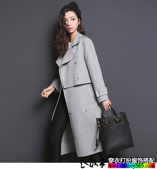 灰色羊毛呢两件套大衣