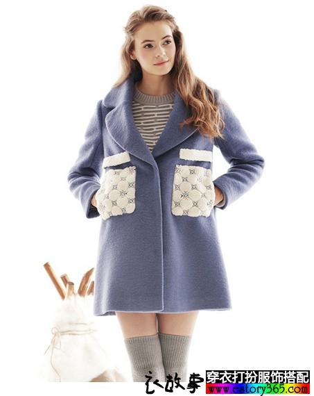 翻领羊毛呢子大衣