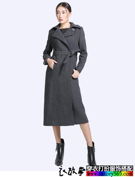 翻领羊毛呢超长款修身风衣外套