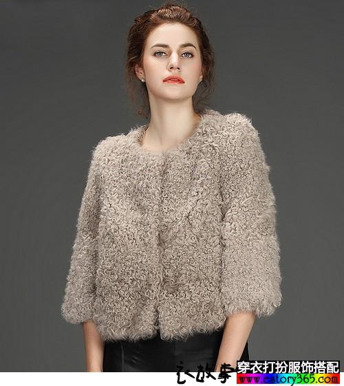 羊羔毛短款皮草外套
