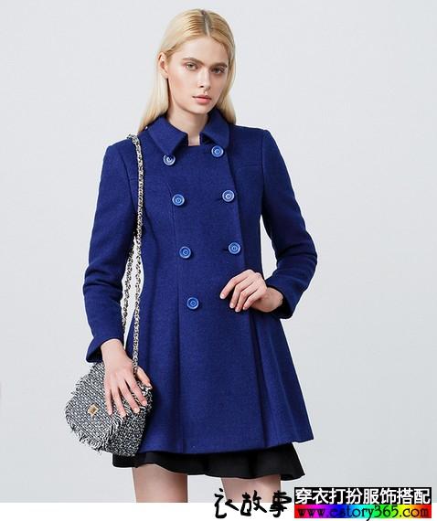 双排扣裙式毛呢大衣