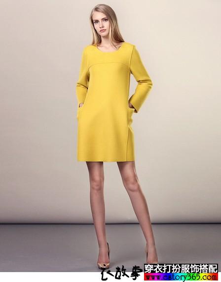 直筒羊毛呢连衣裙