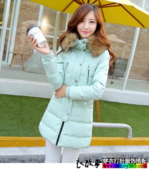 学院风修身显瘦大毛领保暖外套