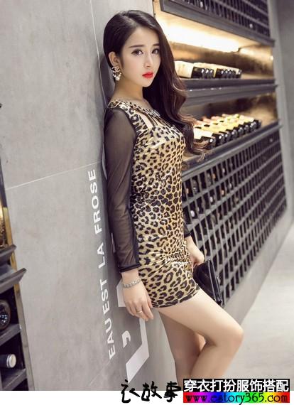 显瘦豹纹打底裙