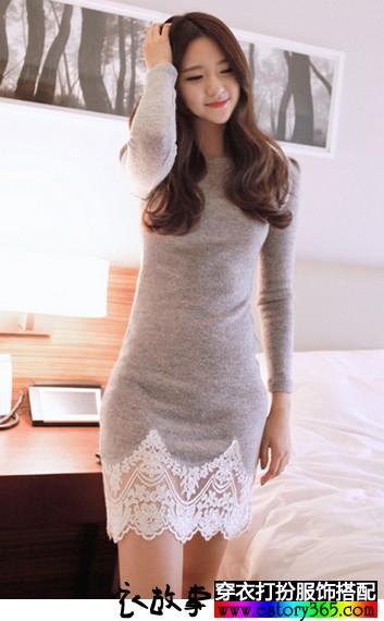 蕾丝加绒连衣裙
